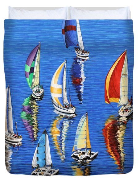 Duvet Cover featuring the painting Morning Reflections by Jane Girardot