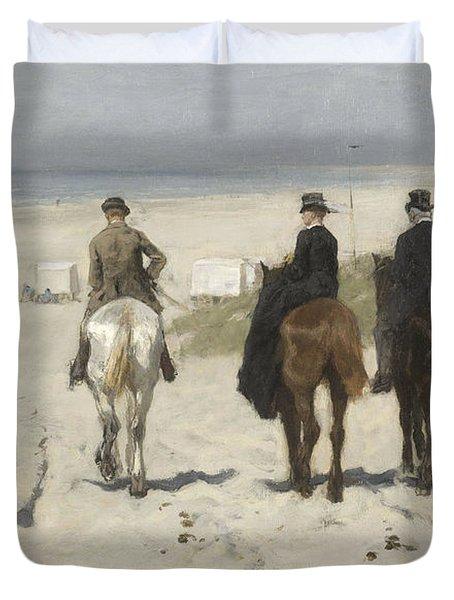 Morning Ride Along The Beach Duvet Cover