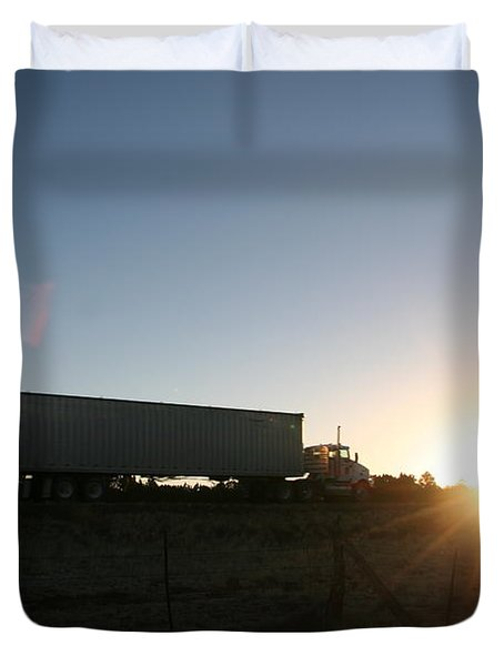 Duvet Cover featuring the photograph Morning Run by David S Reynolds