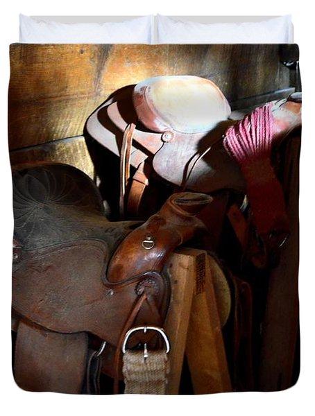Morning Saddles Duvet Cover by Newel Hunter