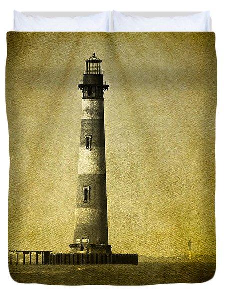 Morris Island Light Bw Vintage Duvet Cover