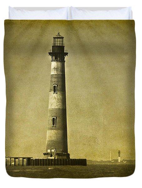 Morris Island Light Vintage Bw Uncropped Duvet Cover