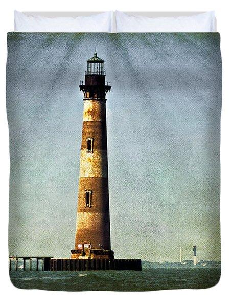 Morris Island Light Vintage Color Uncropped Duvet Cover