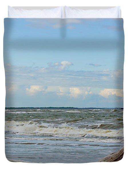 Morris Island Light With Driftwood Duvet Cover