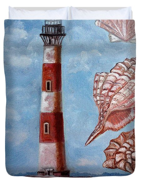 Morris Island Lighthouse Duvet Cover by Julie Brugh Riffey