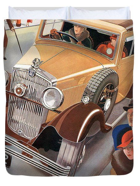 Morris Major 6 - Vintage Car Poster Duvet Cover by World Art Prints And Designs