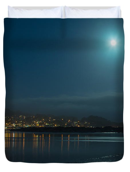 Morro Bay At Night Duvet Cover