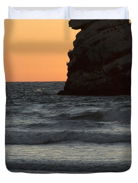 Morro Beach Sunset Duvet Cover