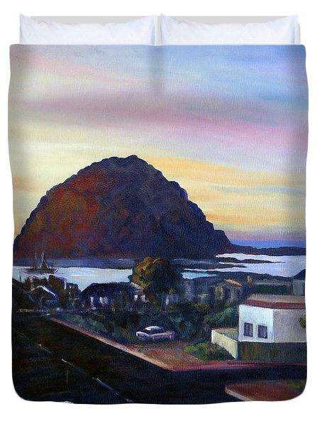 Morro Rock At Night Duvet Cover