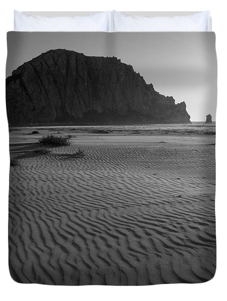 Morro Rock Silhouette Duvet Cover by Terry Garvin