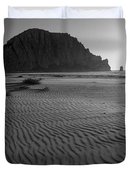 Morro Rock Silhouette Duvet Cover