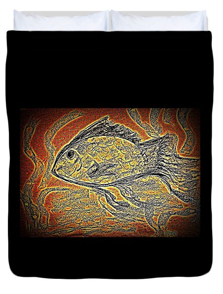 Mosaic Goldfish In Charcoal Duvet Cover