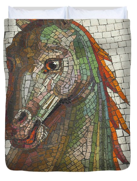 Duvet Cover featuring the photograph Mosaic Horse by Marcia Socolik