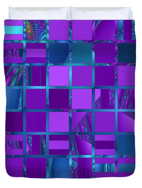 Mosaic In Purple And Teal Duvet Cover by Judi Suni Hall