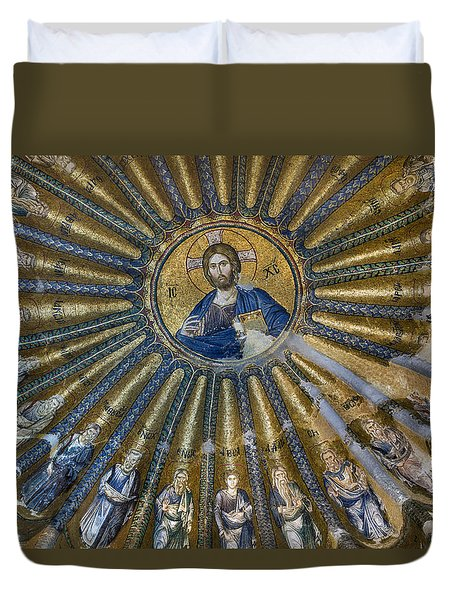 Mosaic Of Christ Pantocrator Duvet Cover by Ayhan Altun