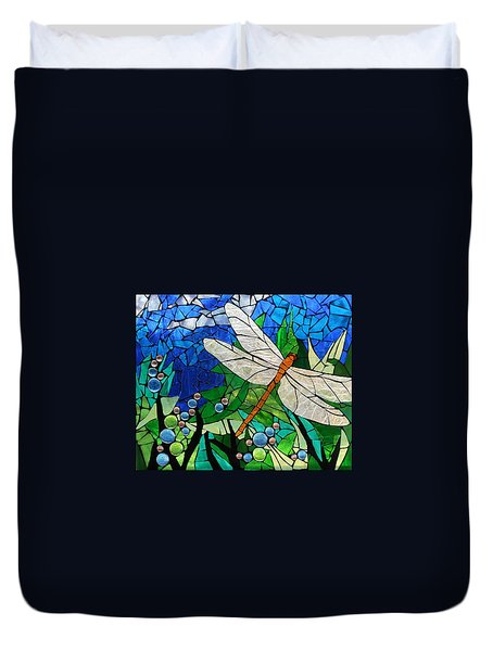 Mosaic Stained Glass - Golden Brown Dragonfly Duvet Cover