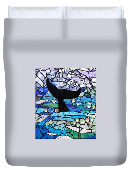 Mosaic Stained Glass - Whale Tail Duvet Cover by Catherine Van Der Woerd