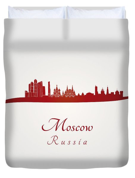 Moscow Skyline In Red Duvet Cover by Pablo Romero