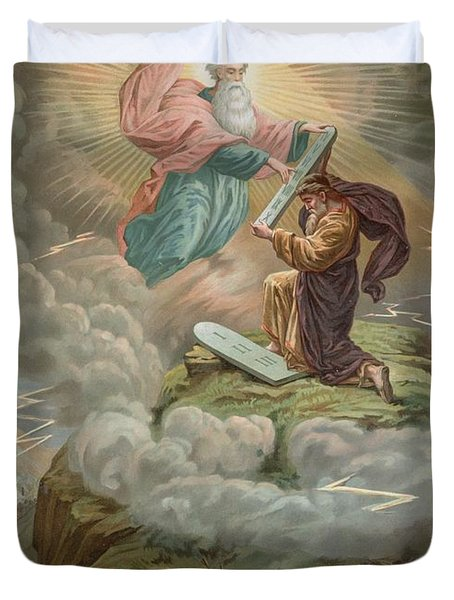 Moses Receives The Tablets Of Duvet Cover by French School
