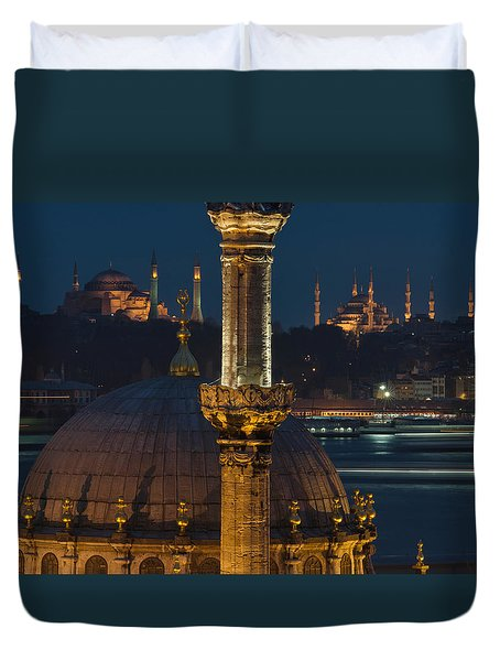 Mosques In Istanbul Duvet Cover by Ayhan Altun