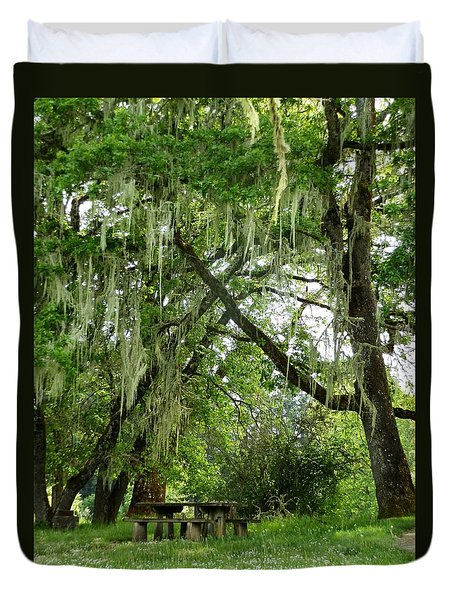 Duvet Cover featuring the photograph Moss Drapery by VLee Watson