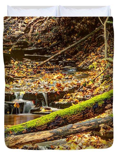 Mossy Log And Stream Duvet Cover