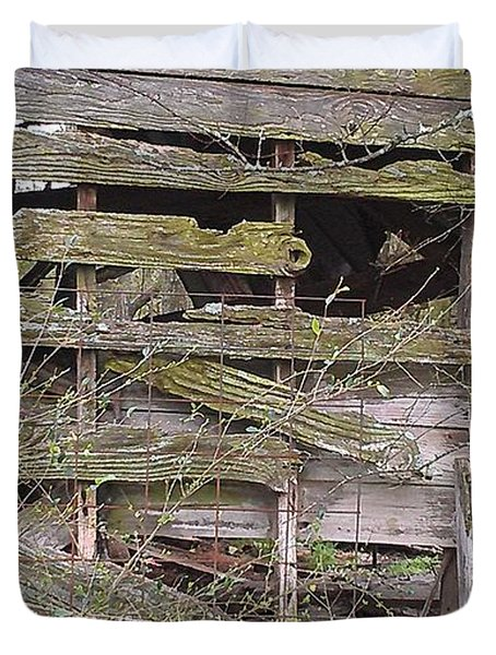 Duvet Cover featuring the photograph Mossy Wood by Lew Davis