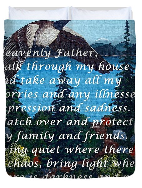Most Powerful Prayer With Goose Flying And Autumn Scene Duvet Cover by Barbara Griffin
