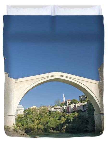 Mostar Bridge In Bosnia Duvet Cover