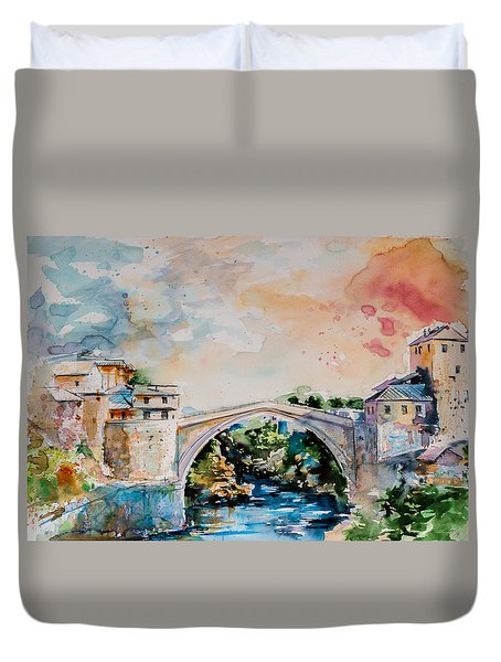 Mostar Bridge Duvet Cover