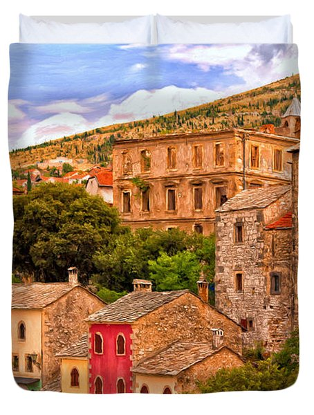Duvet Cover featuring the painting Mostar by Michael Pickett