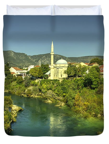 Mostar River And Mosque  Duvet Cover