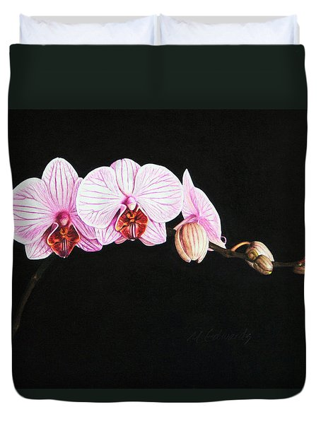 Duvet Cover featuring the drawing Moth Orchid by Marna Edwards Flavell