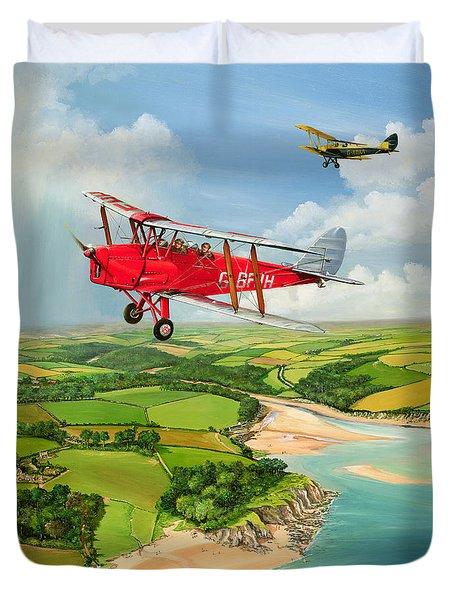 Mothecombe Moths Duvet Cover by Richard Wheatland