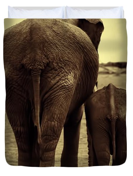 Mother And Baby Elephant In Black And White Duvet Cover by Amanda Stadther