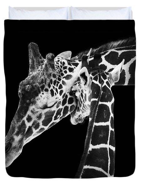 Mother And Baby Giraffe Duvet Cover