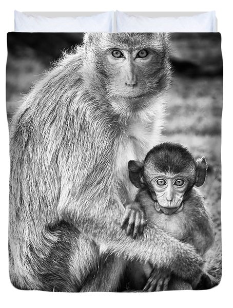Mother And Baby Monkey Black And White Duvet Cover by Adam Romanowicz