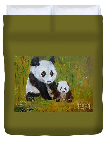 Duvet Cover featuring the painting Mother And Baby Panda by Jenny Lee
