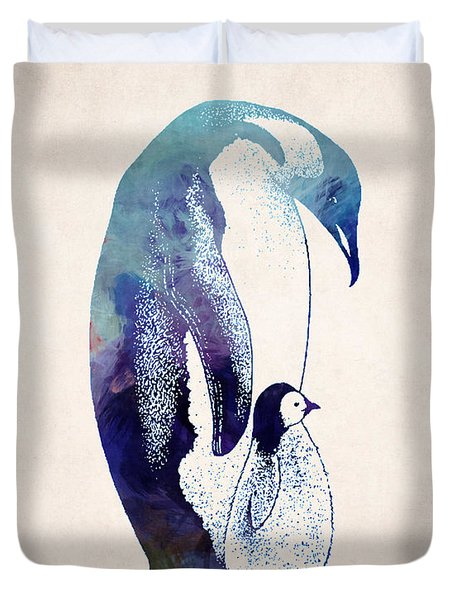 Mother And Baby Penguin Duvet Cover by World Art Prints And Designs