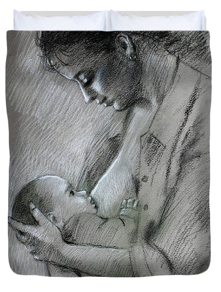 Duvet Cover featuring the drawing Mother And Baby by Viola El