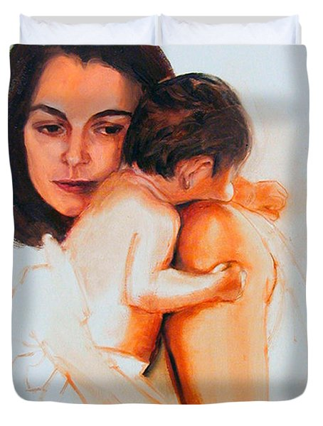 Duvet Cover featuring the painting Mother And Child by Greta Corens