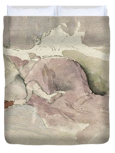 Mother And Child On A Couch Duvet Cover