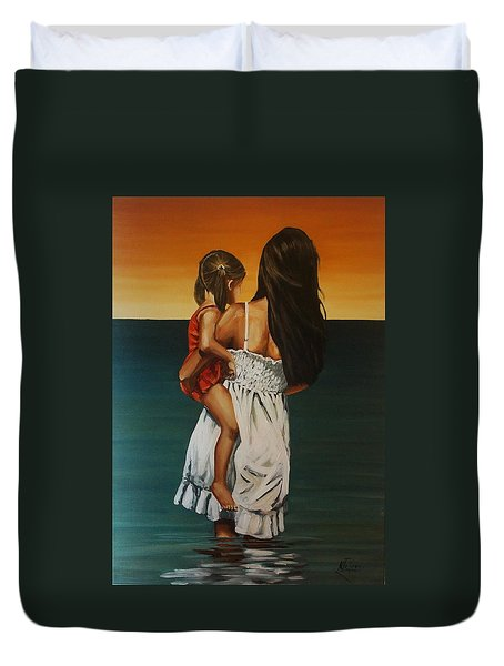 Mother And Daughter II Duvet Cover