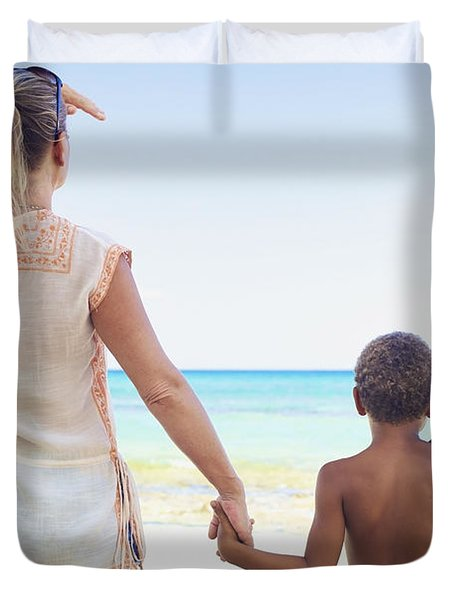 Mother And Son At Beach Duvet Cover by Kicka Witte