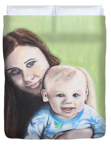 Mother And Son Duvet Cover by Jeanne Fischer
