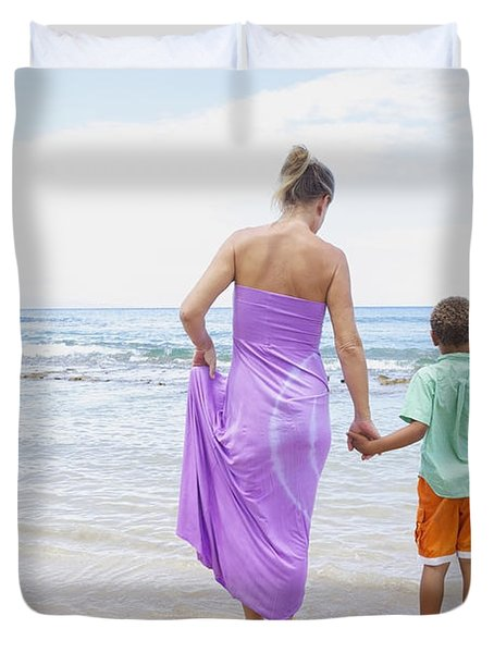 Mother And Son On Beach Duvet Cover by Kicka Witte