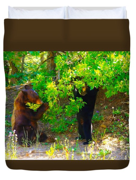 Mother Bear And Cub Duvet Cover by Jeff Swan