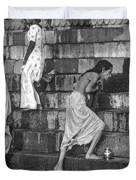 Mother Ganges Monochrome Duvet Cover by Steve Harrington