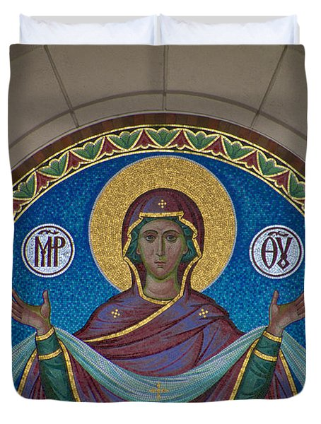Mother Of God Mosaic Duvet Cover