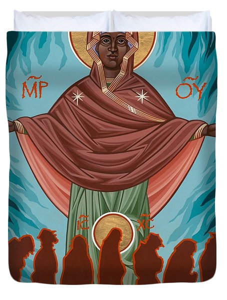 Mother Of Sacred Activism With Eichenberg's Christ Of The Breadline Duvet Cover